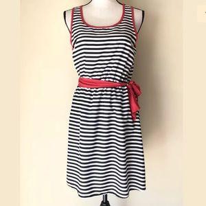 Everly Black & White Stripe Dress Tie Belt Waist